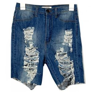 Aphrodite High Waisted Distressed Jean Shorts